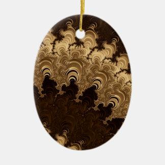 Trippy Coffee Cream Fractal Art Christmas Ornaments