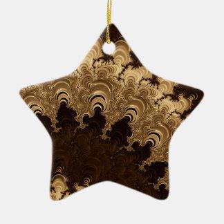 Trippy Coffee Cream Fractal Art Christmas Tree Ornament