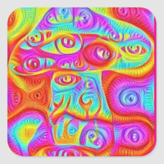 trippy colorful psychedelic mushroom square sticker