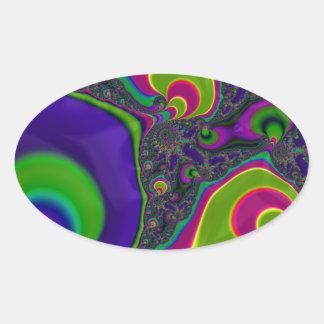 Trippy Fractal Art Oval Stickers