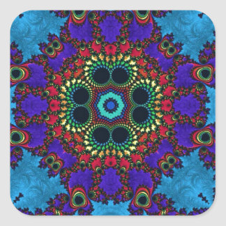 Trippy Fractal Art Square Stickers
