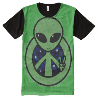 Trippy Green Alien Peace Sign All-Over Print T-Shirt