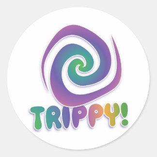trippy! Groovy 70s psychadellic swirl Round Sticker