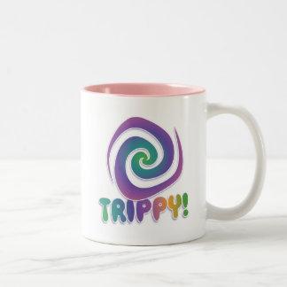 trippy! Groovy 70s psychadellic swirl Two-Tone Mug