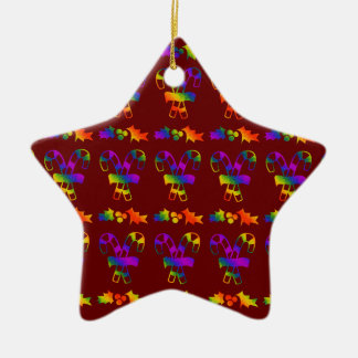 Trippy Holly Canes Ceramic Star Decoration