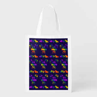 Trippy Holly Canes Reusable Grocery Bag
