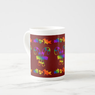 Trippy Holly Canes Tea Cup