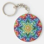 Trippy Mandala Basic Round Button Key Ring