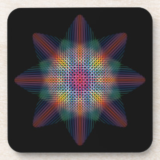 Trippy Multicolored Star on Black Surface Drink Coasters