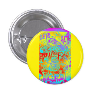 trippy mushroom 3 cm round badge