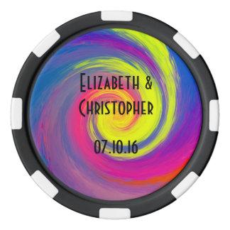 Trippy Psychedelic Rainbow Swirls Wedding Favor Poker Chips