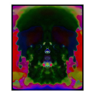 Trippy Psychedelic Skull Hidden Pictures Poster