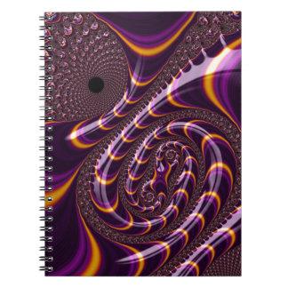Trippy Purple Black Fractal Twirls Art Decor Note Books