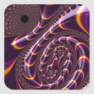 Trippy Purple Black Fractal Twirls Art Decor Square Sticker