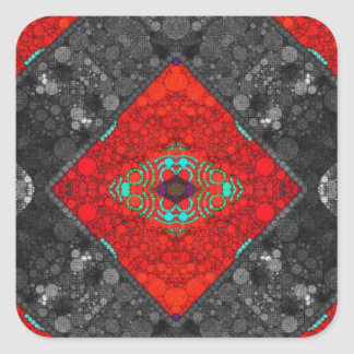 Trippy Red Blk Abstract Square Sticker