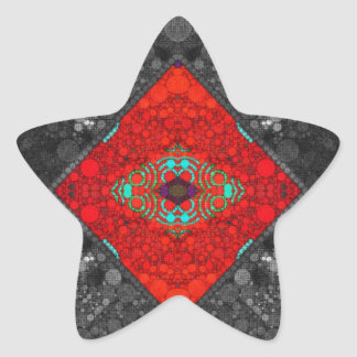 Trippy Red Blk Abstract Star Sticker