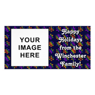 Trippy Snowflakes Personalised Photo Card