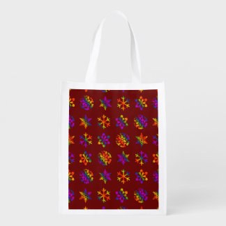 Trippy Snowflakes Reusable Grocery Bag
