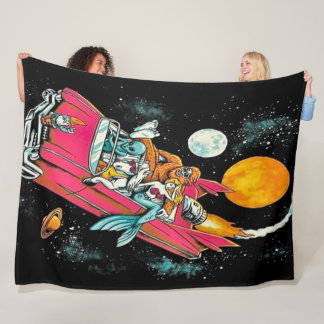 Trippy Vintage 70's Retro Alien Space Ride Art Fleece Blanket