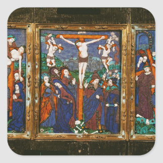 Triptych depicting the Crucifixion, Limousin Square Sticker