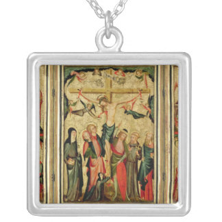 Triptych depicting the Crucifixion of Christ Silver Plated Necklace