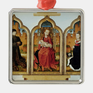 Triptych of Jean de Witte, 1473 Silver-Colored Square Decoration