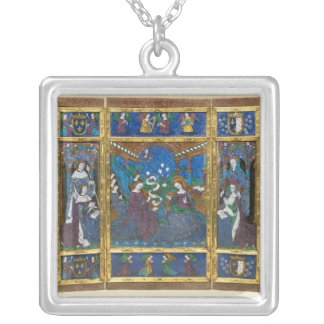 Triptych of Louis XII  and Anne de Bretagne Silver Plated Necklace