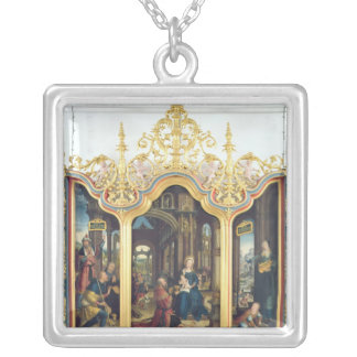 Triptych of the Adoration of the Infant Christ Silver Plated Necklace