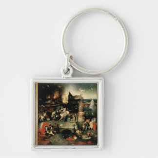 Triptych: The Temptation of St. Anthony Silver-Colored Square Key Ring