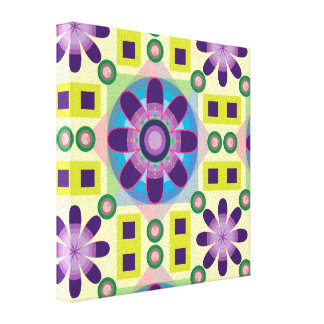 Tripy Flower Pattern Stretched Canvas Print