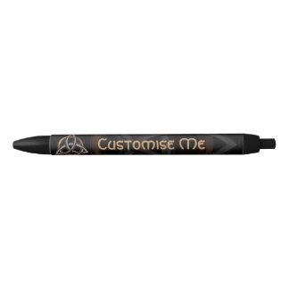Triquetra (Brown/Silver) Black Ink Pen