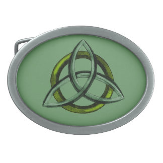 Triquetra (Green) Oval Belt Buckle