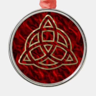 Triquetra Red Silk Christmas Ornament