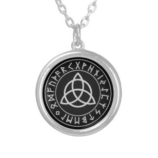Triquetra Rune Shield Silver Plated Necklace