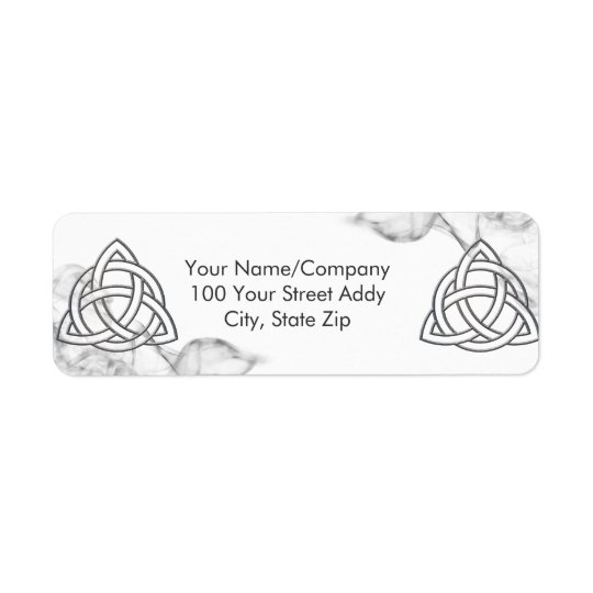 Triquetra Silver Bevel Return Address Label