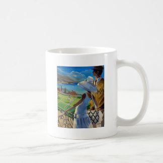 Trish Biddle - Tennis on the Riviera Basic White Mug