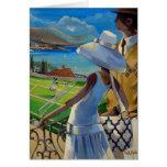 Trish Biddle - Tennis on the Riviera Greeting Card