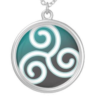 Triskele Celtic Spiral Silver Plated Necklace
