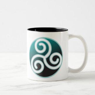Triskele Celtic Spiral Two-Tone Coffee Mug