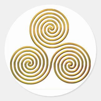 Triskele-gold Classic Round Sticker
