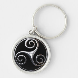 Triskelion Silver-Colored Round Key Ring