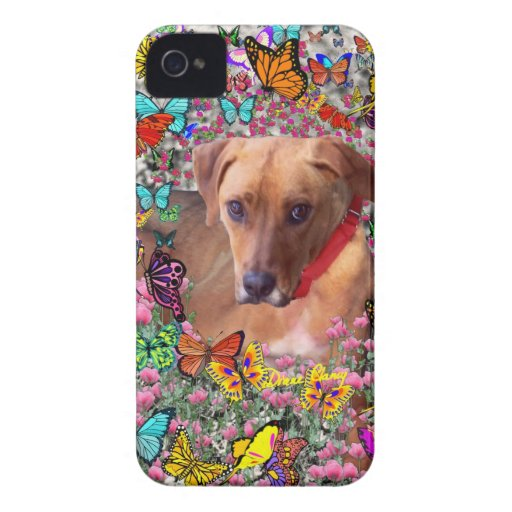 Trista the Rescue Dog in Butterflies iPhone 4 Covers