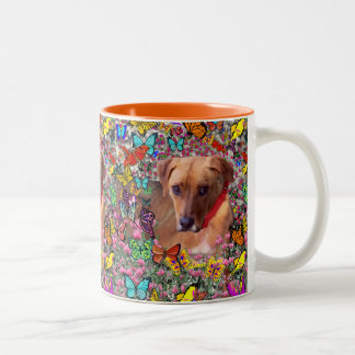 Trista the Rescue Dog in Butterflies Two-Tone Mug