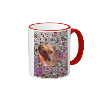 Trista the Rescue Dog in Flowers Coffee Mugs