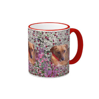 Trista the Rescue Dog in Flowers Ringer Mug