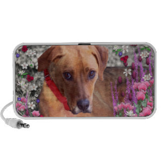 Trista the Rescue Dog in Flowers Mp3 Speaker