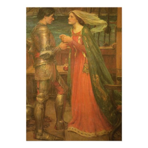 Tristan and Isolde by Waterhouse, Vintage Fine Art Custom Invite