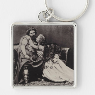 Tristan and Isolde Silver-Colored Square Key Ring