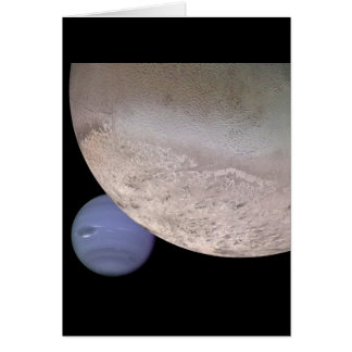 Triton with Neptune in the background NASA Greeting Card