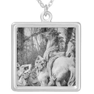 Tritons grooming two horses of the sun silver plated necklace